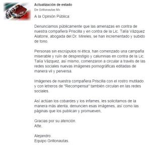Solidaridad con Grillonautas y la Lic. Talía Vázquez.