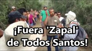 Habitantes de Todos Santos, BCS., impiden las obras de la empresa de muerte, Zapal.