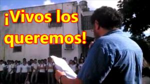 ¡Vivos los queremos! Exigen en Cancún, alumnos de secundaria y bachillerato. #Ayotzinapa.