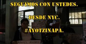 Vigilia en apoyo a los muchachos de #Ayotzinapa, desde NYC. #SOSporMéxico.