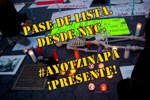 Pase de lista de nuestros 43 compañeros de #Ayotzinapa. Desde NYC.