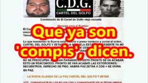 Difunden supuesto comunicado de alianza entre CDG y Zetas.