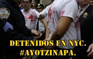 Por bloqueo a la calle del Consulado mexicano en NYC, arrestan a compañeros. #Ayotzinapa.