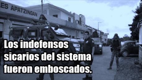 Dice Castillo que los malos ciudadanos emboscaron a sus policías indefensos en Apatzingán.