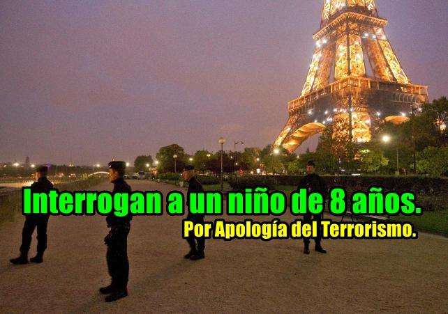 Policía en Francia interroga a un niño por apología del terrorismo.
