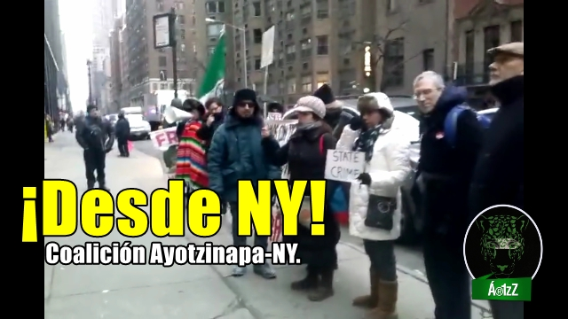 ¡INCANSABLES! Desde NY en pie de lucha. #9aAcciónGlobalPorAyotzinapa.
