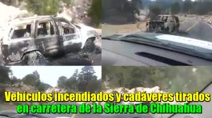 Autos incendiados y cadáveres tirados en carretera de la Sierra de Chihuahua