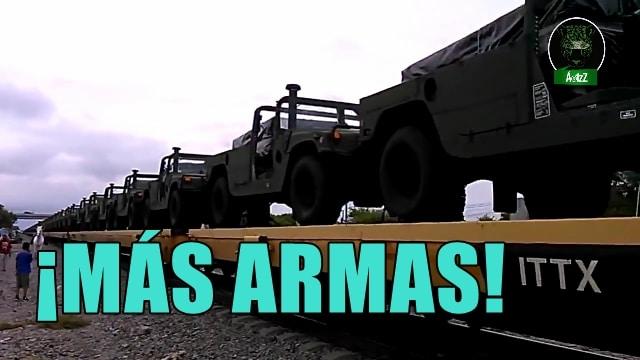 Cruzan cientos de vehículos militares de EEUU a México.