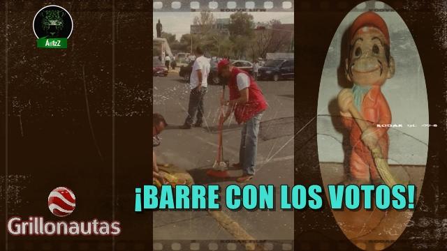 Candidato del PRI, en Ecatepec, hasta de barrendero la hace, para ganar votos.