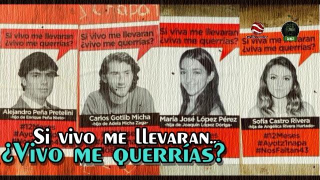 Reclamo de justicia por #Ayotzinapa con fotos de hijos de EPN, Rivera, Micha y López Dóriga.