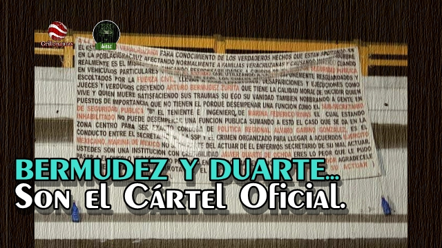 Acusan en mantas a Bermudez Zurita y a Javier Duarte de ser parte del crimen organizado.