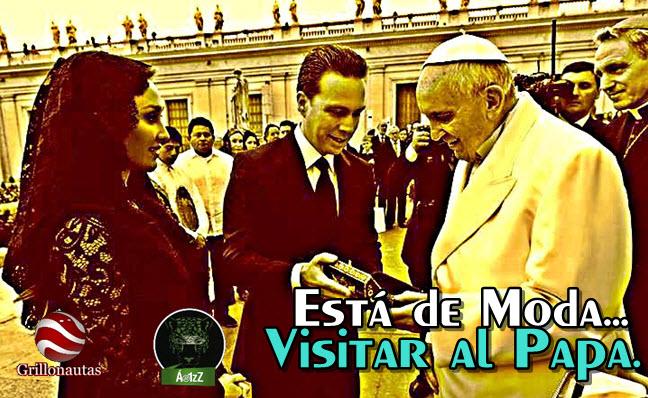 Manuel Velasco y su esposa alquilada visitan a Francisco, mientras Chiapas estalla.