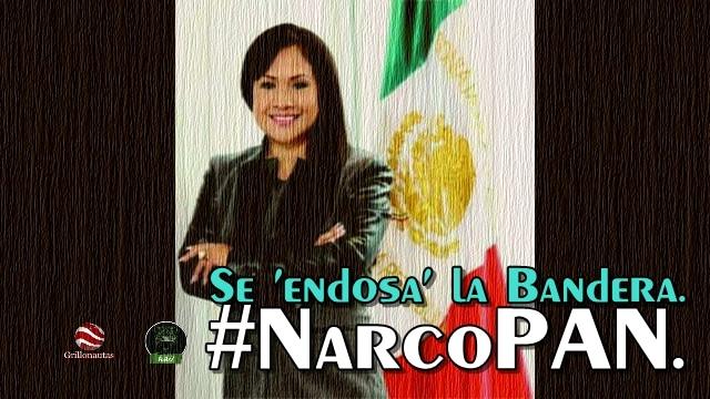 Senadora del PAN se siente tan dueña de México, que le borda su nombre a la bandera.