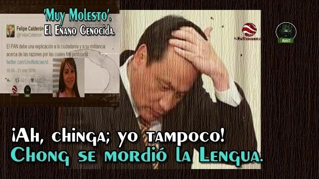 Chong y Calderón 'se mordieron la lengua'. (A FeCal no se le infectará, porque trae alcohol en la boca).