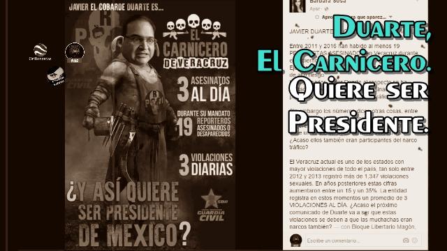 El carnicero de Veracruz quiere ser Presidente. Graco le dice 'ladrón'.