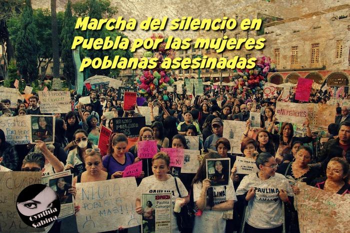 Marcha del silencio en Puebla por las mujeres poblanas asesinadas