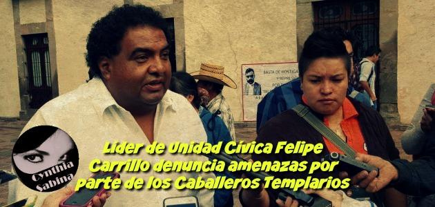 Líder de Unidad Cívica Felipe Carrillo denuncia amenazas por parte de los Caballeros Templarios