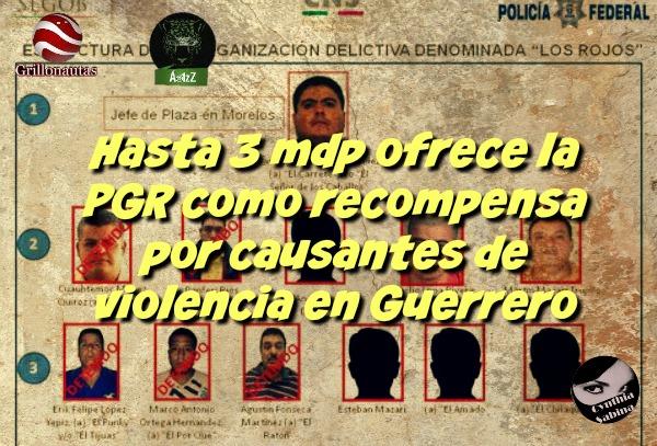 Hasta 3 mdp ofrece la PGR como recompensa por causantes de violencia en Guerrero