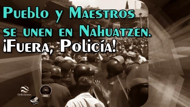 En Nahuatzen, Mich., pueblo y maestros echan a la policía del lugar.