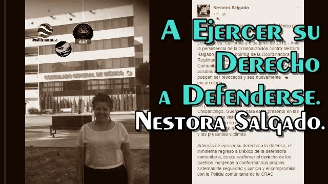 Nestora Salgado anuncia regreso a Guerrero.
