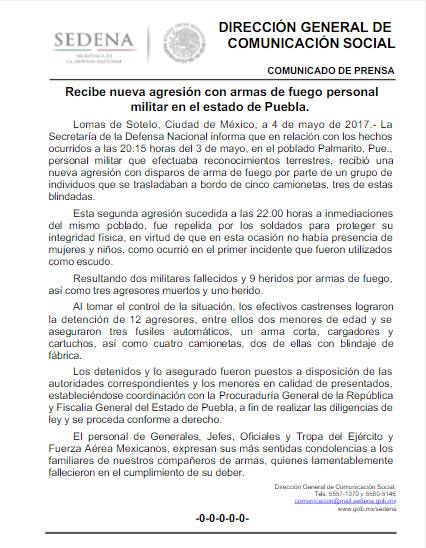 Cuatro soldados muertos en Palmarito, Puebla