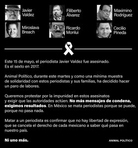 Animal Político protesta por asesinato a periodistas