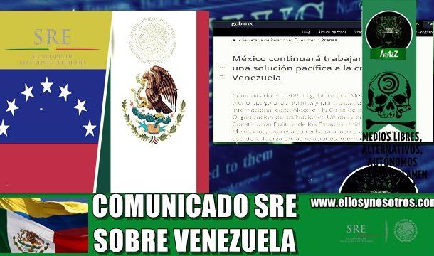Dice la SRE que no quiere intervención militar de Estados Unidos en Venezuela