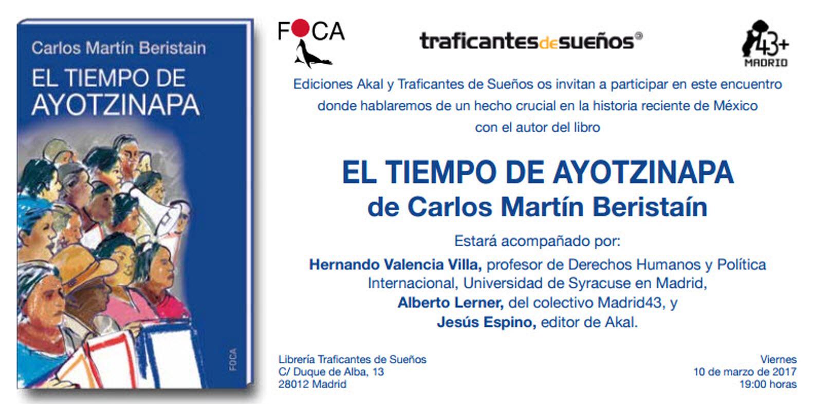 'El tiempo de Ayotzinapa' de Carlos Beristaín. Presentación en Madrid.
