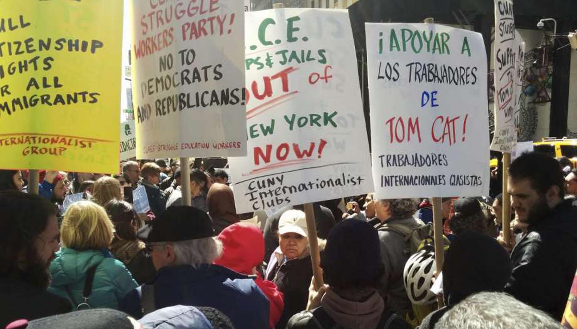 Trabajadores protestan en Nueva York contra política migratoria de Trump
