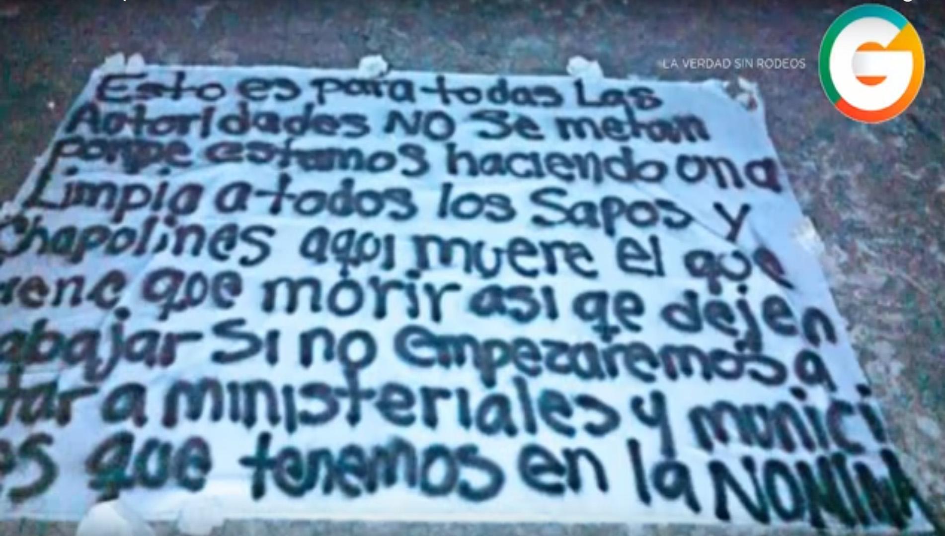 Narcomanta en Playa del Carmen advierte a las autoridades que