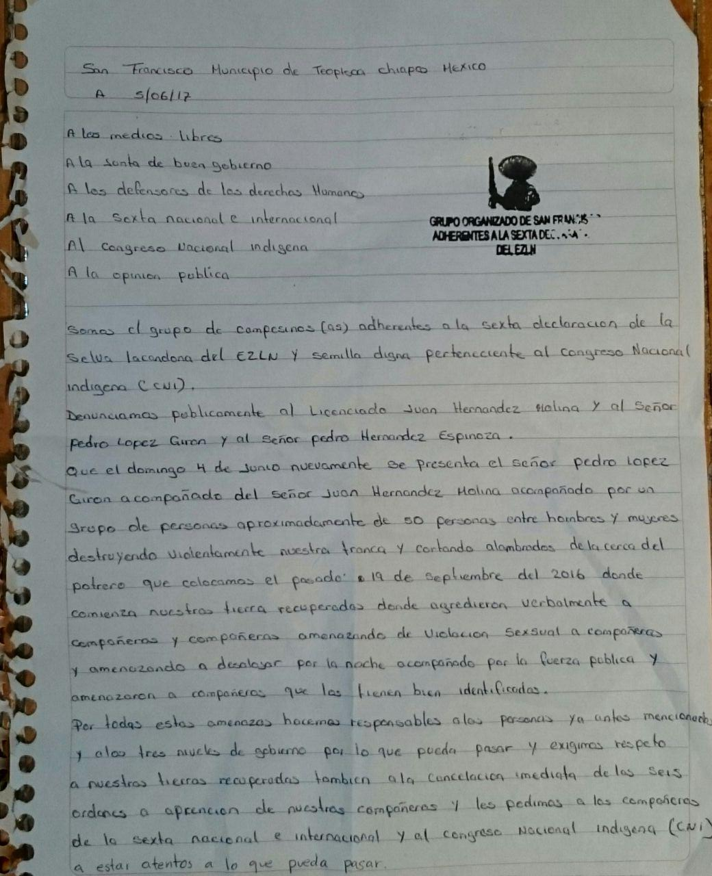 Inicia la represión contra pueblos de Chiapas que son parte del CNI