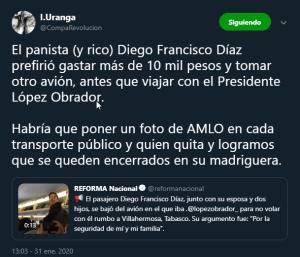 Diego Francisco Díaz bajó a su familia de un vuelo donde iba Andrés Manuel López Obrador