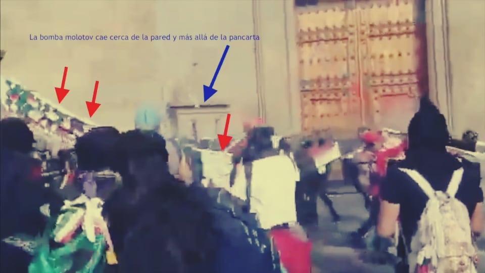 ¿Quién lanzó la bomba molotov el Día de la Mujer en Palacio Nacional?